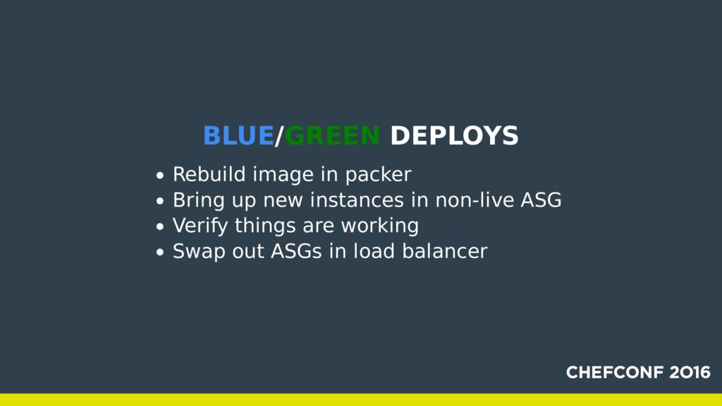 BLUE/GREEN DEPLOYS Rebuild image in packer Brin...
