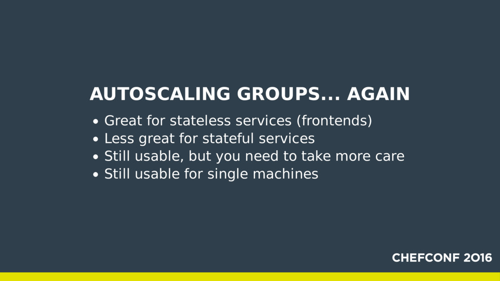 AUTOSCALING GROUPS... AGAIN Great for stateless...