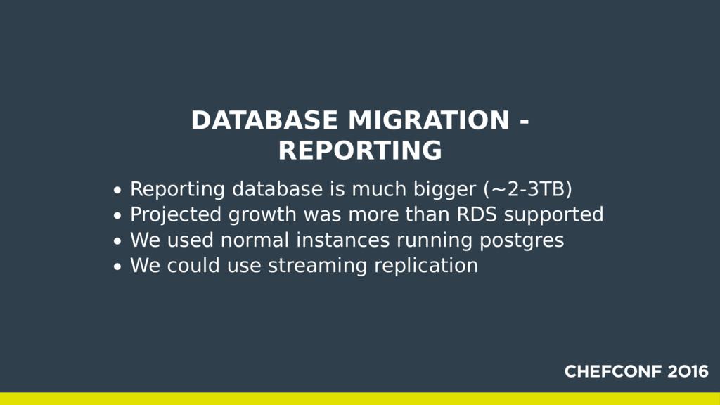 DATABASE MIGRATION - REPORTING Reporting databa...
