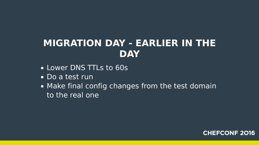 MIGRATION DAY - EARLIER IN THE DAY Lower DNS TT...