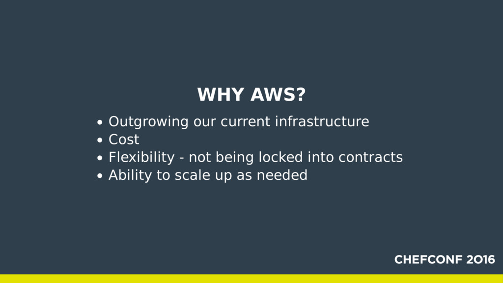 WHY AWS? Outgrowing our current infrastructure ...