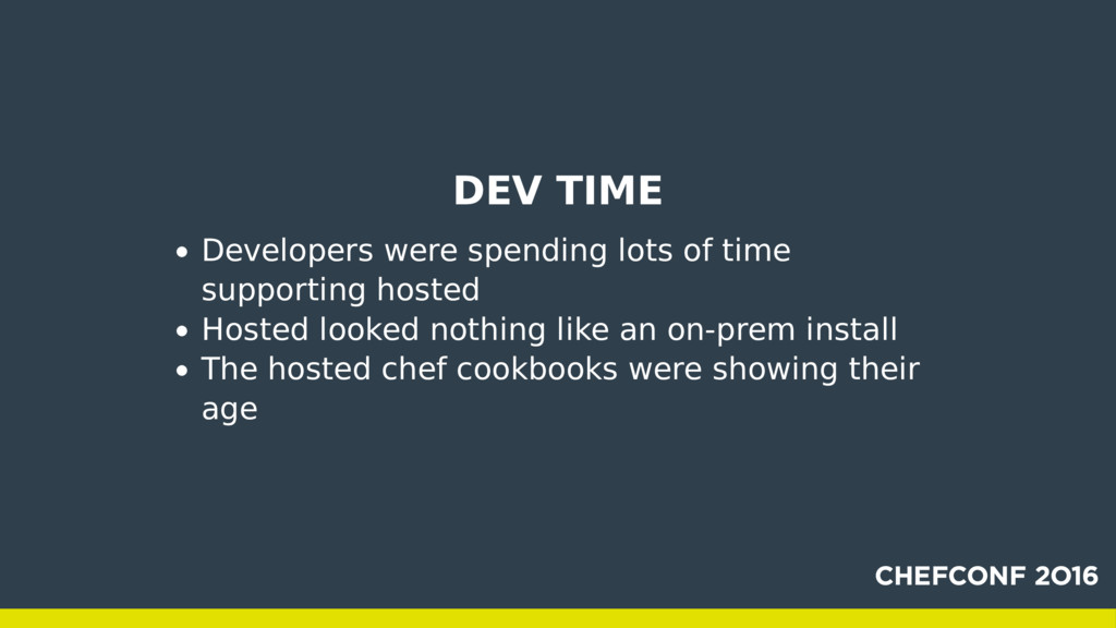 DEV TIME Developers were spending lots of time ...
