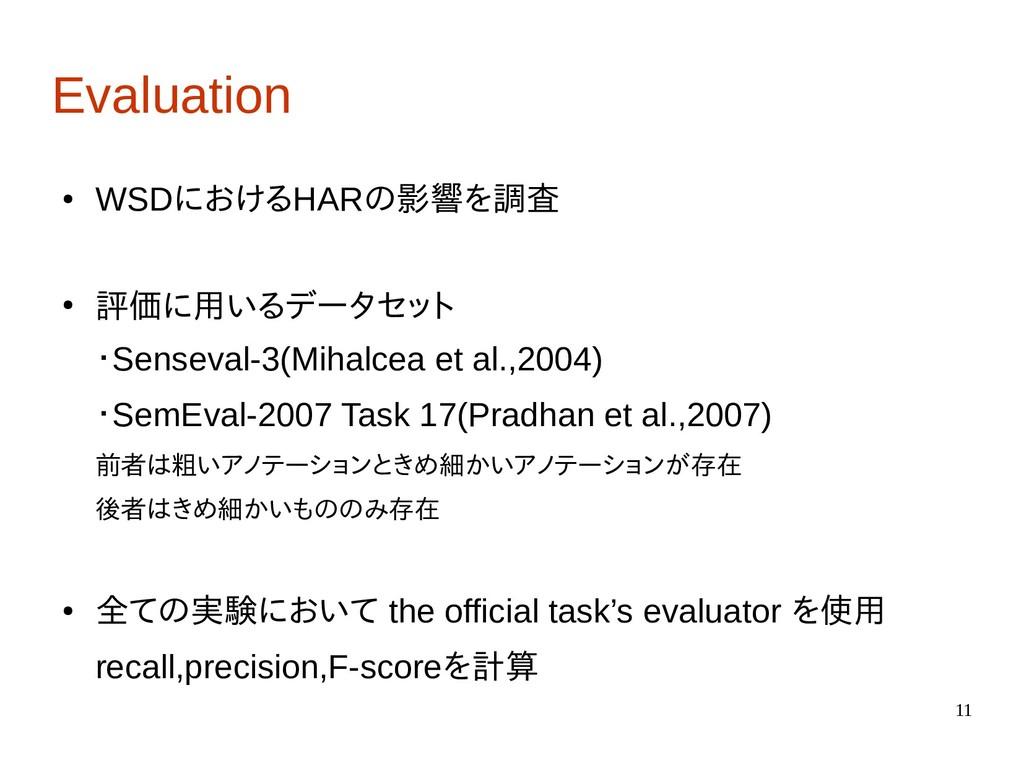 11 Evaluation ● WSDにおけるHARの影響を調査 ● 評価に用いるデータセット...