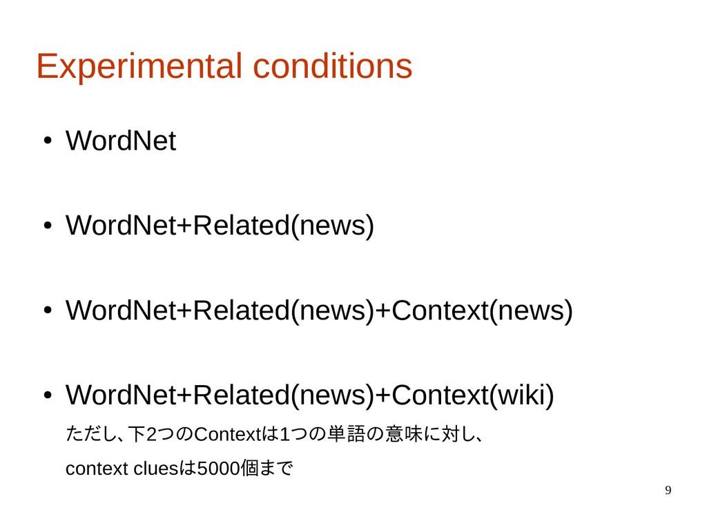 9 Experimental conditions ● WordNet ● WordNet+R...
