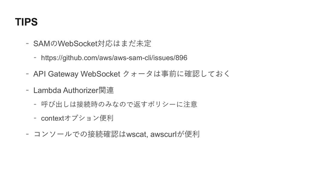 TIPS - SAMのWebSocket対応はまだ未定 - https://github.co...