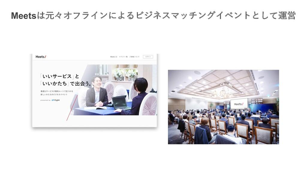 Meetsは元々オフラインによるビジネスマッチングイベントとして運営