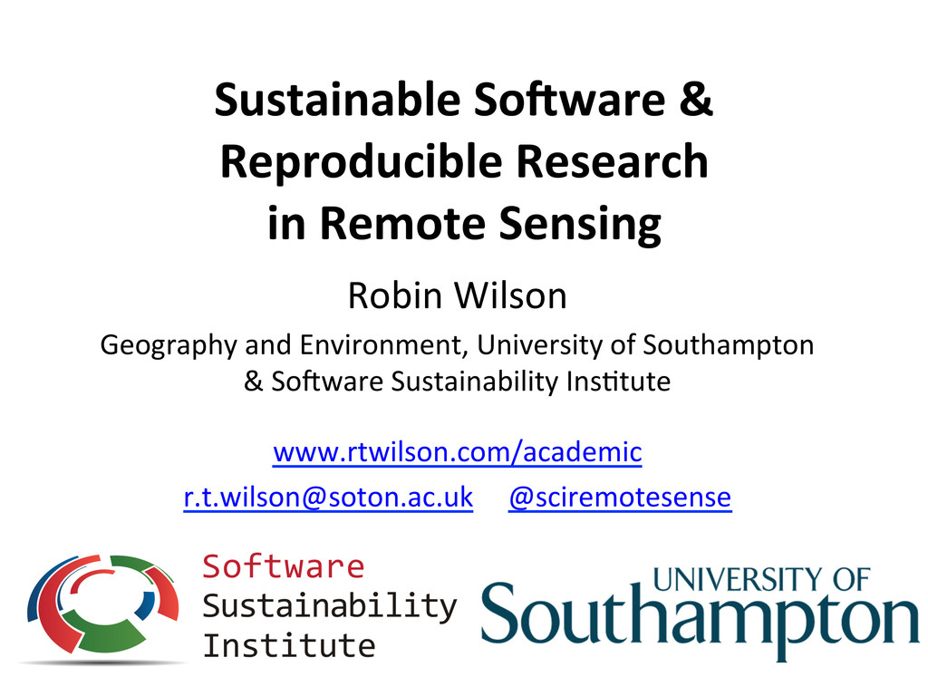 Sustainable So-ware &  Reproducible ...