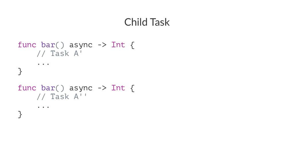 Child Task func bar() async -> Int { // Task A'...