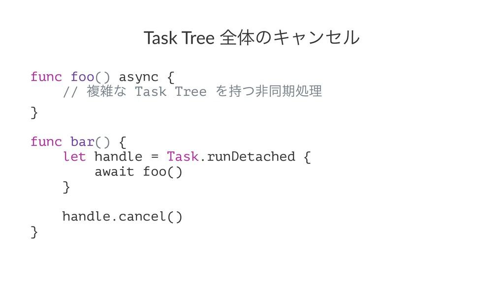Task Tree શମͷΩϟϯηϧ func foo() async { // ෳͳ Ta...