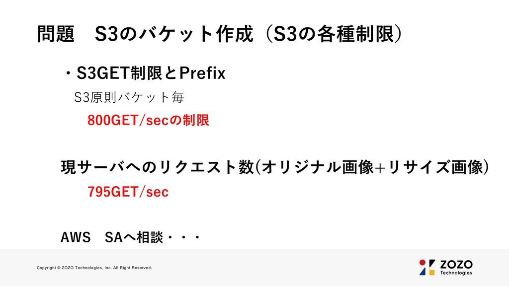 問題 S3のバケット作成(S3の各種制限) ・S3GET制限とPrefix S3原則バケット毎...