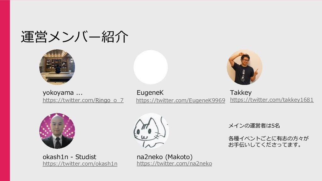 運営メンバー紹介 yokoyama ... EugeneK Takkey okash1n - ...