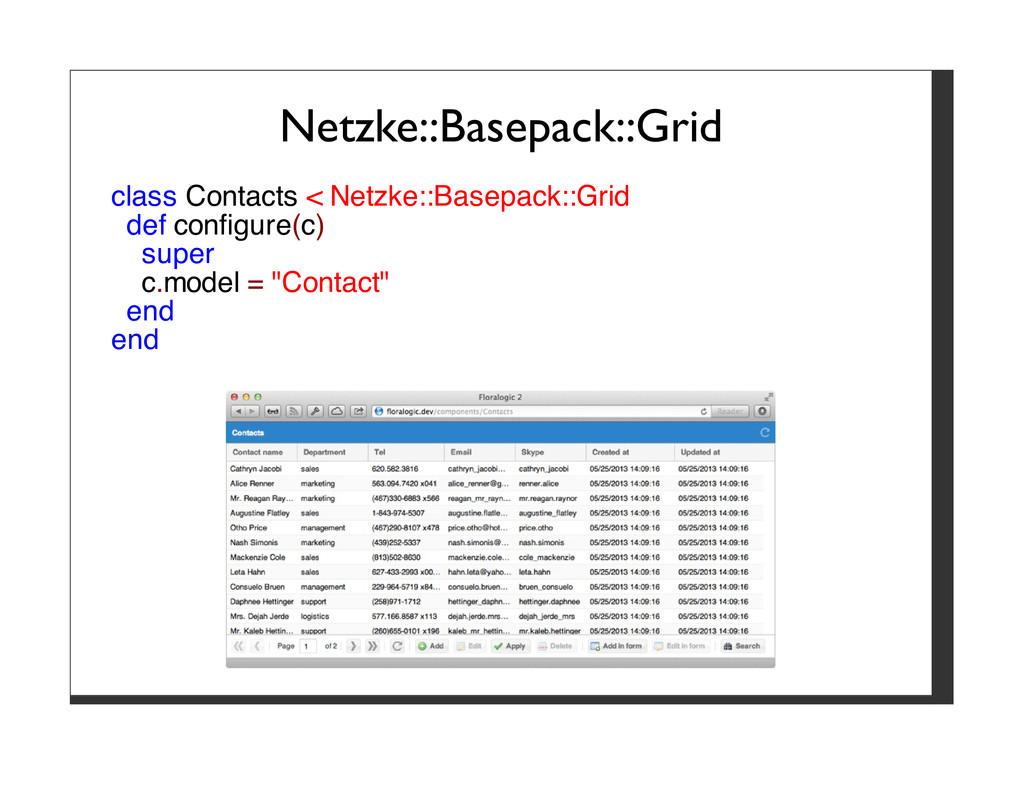 Netzke::Basepack::Grid class Contacts < Netzke:...