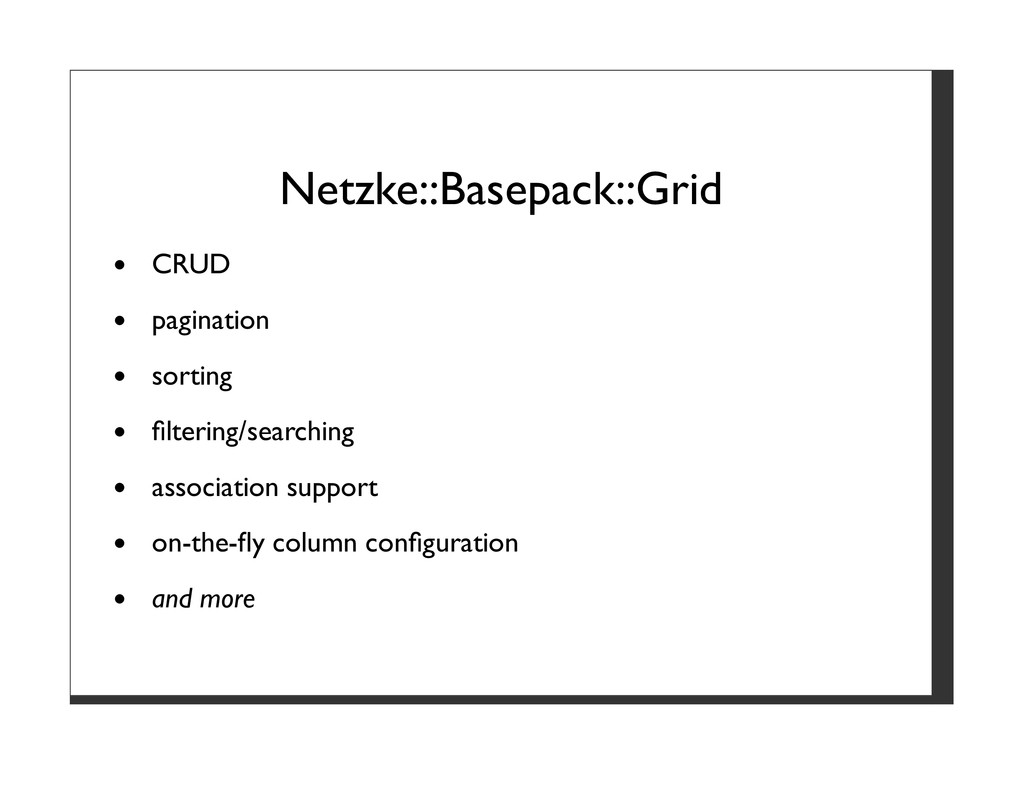 Netzke::Basepack::Grid CRUD pagination sorting ...