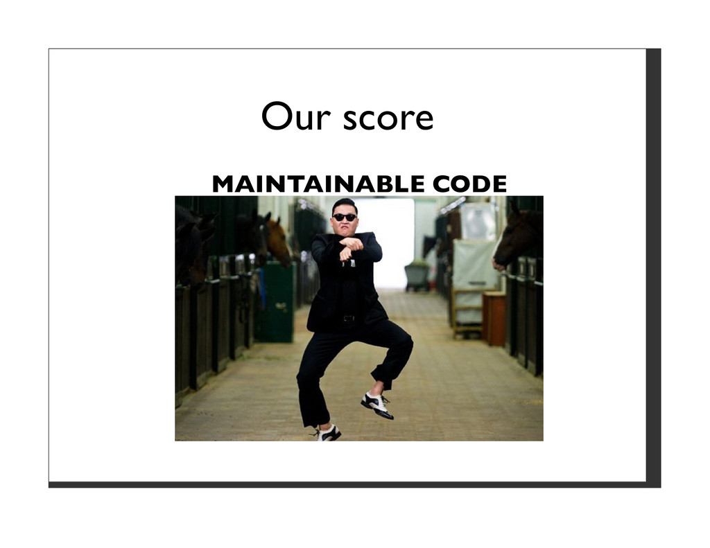 Our score MAINTAINABLE CODE