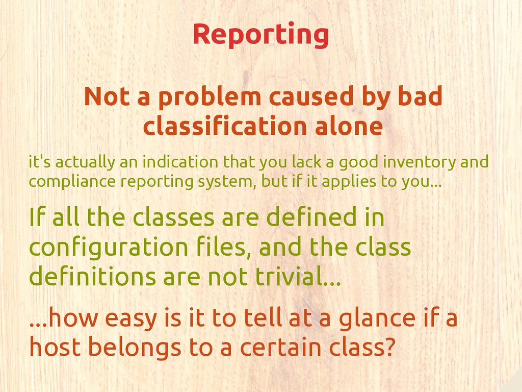 Reporting Not a problem caused by bad classific...