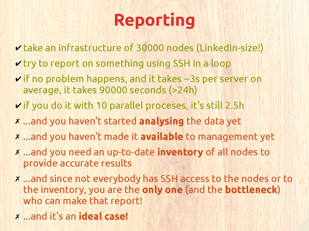 Reporting ✔ take an infrastructure of 30000 nod...