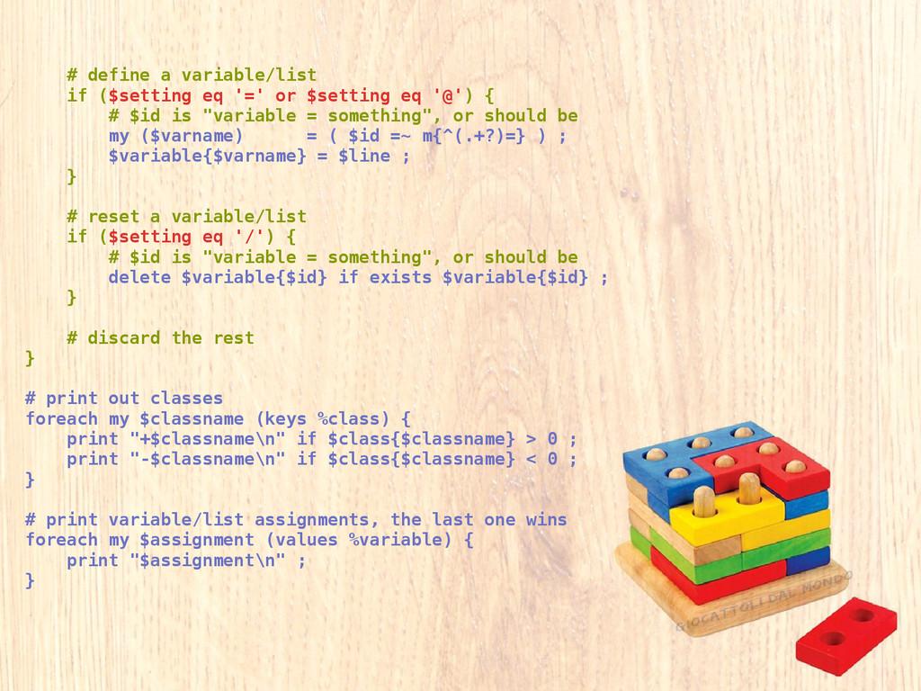 # define a variable/list if ($setting eq '=' or...
