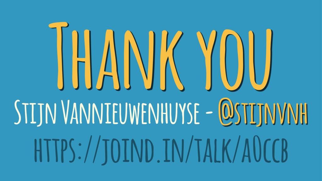 Thank you Stijn Vannieuwenhuyse - @stijnvnh htt...