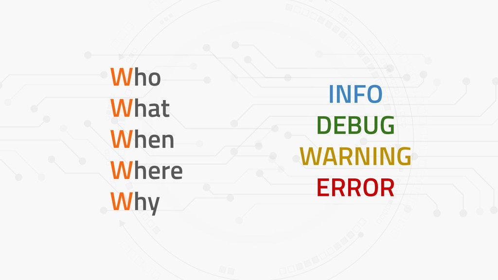 Who What When Where Why INFO DEBUG WARNING ERROR
