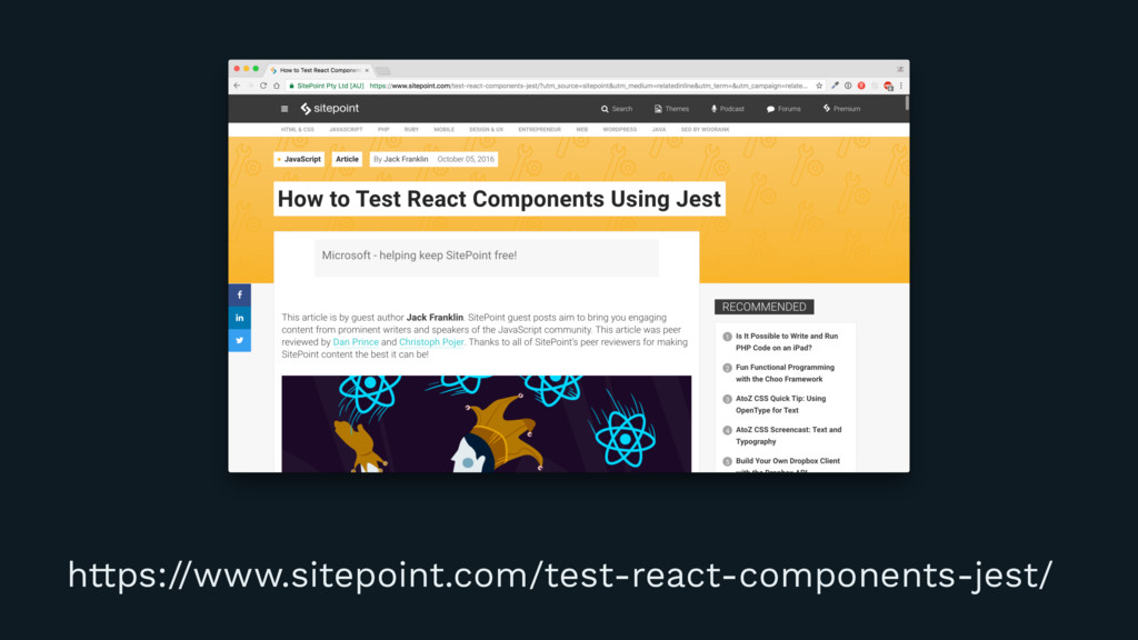 https://www.sitepoint.com/test-react-components...