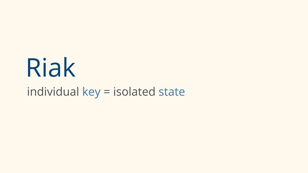 Riak individual key = isolated state