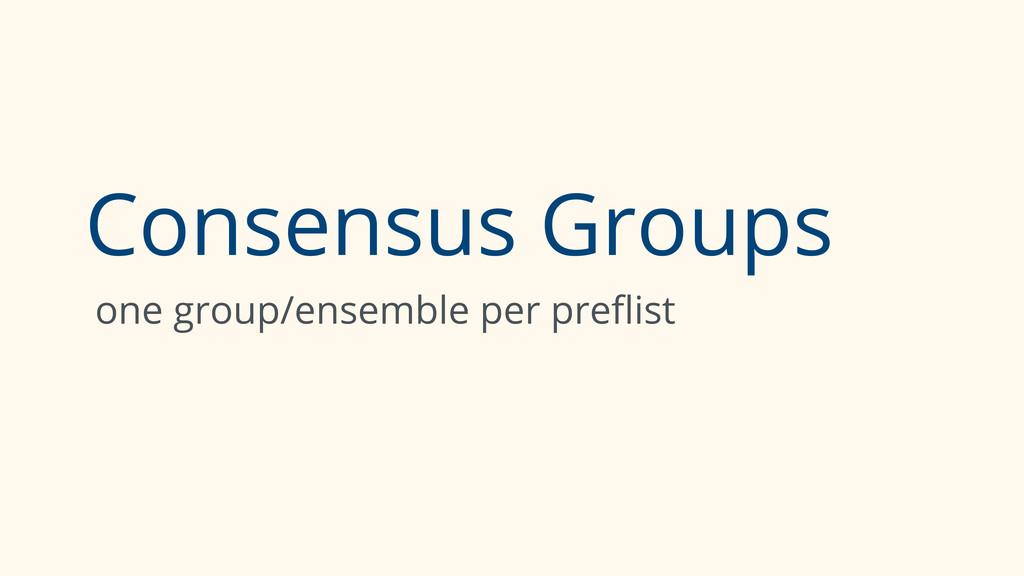Consensus Groups one group/ensemble per preflist