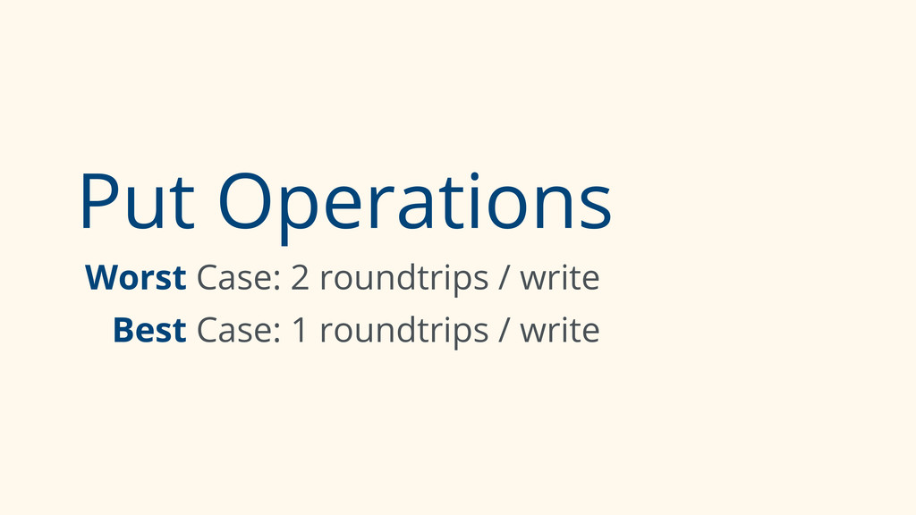 Put Operations Worst Case: 2 roundtrips / write...