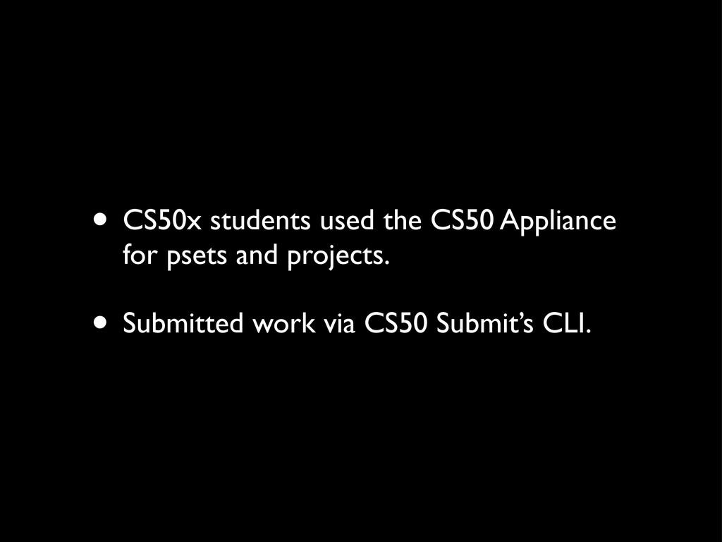 • CS50x students used the CS50 Appliance for ps...
