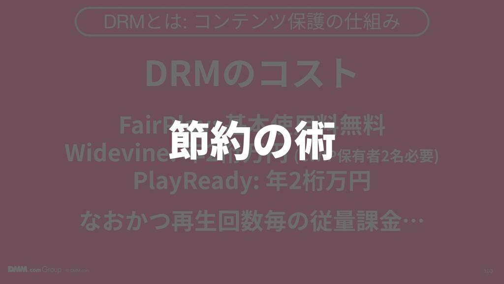 © DMM.com 103 DRMとは: コンテンツ保護の仕組み DRMのコスト FairPl...