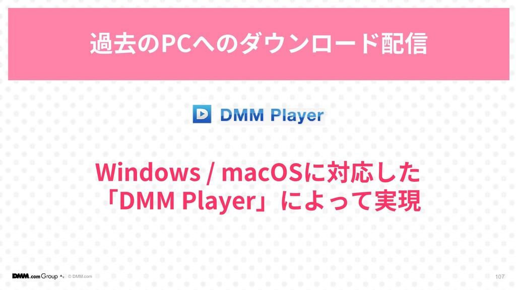 © DMM.com 過去のPCへのダウンロード配信 107 Windows / macOSに対...