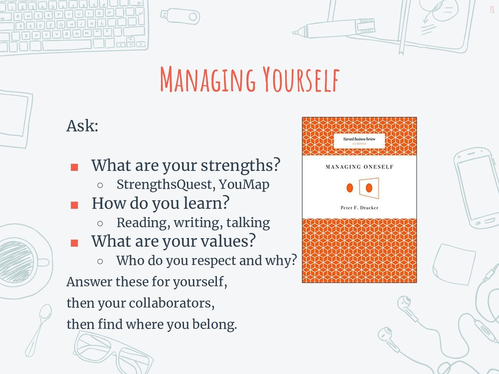 Managing Yourself Ask: ■ What are your strength...