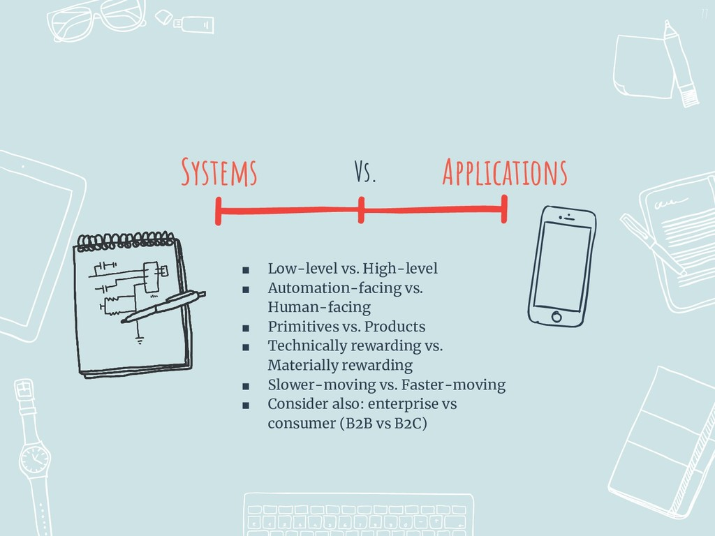 I I Vs. Systems 77 Applications ■ Low-level vs....