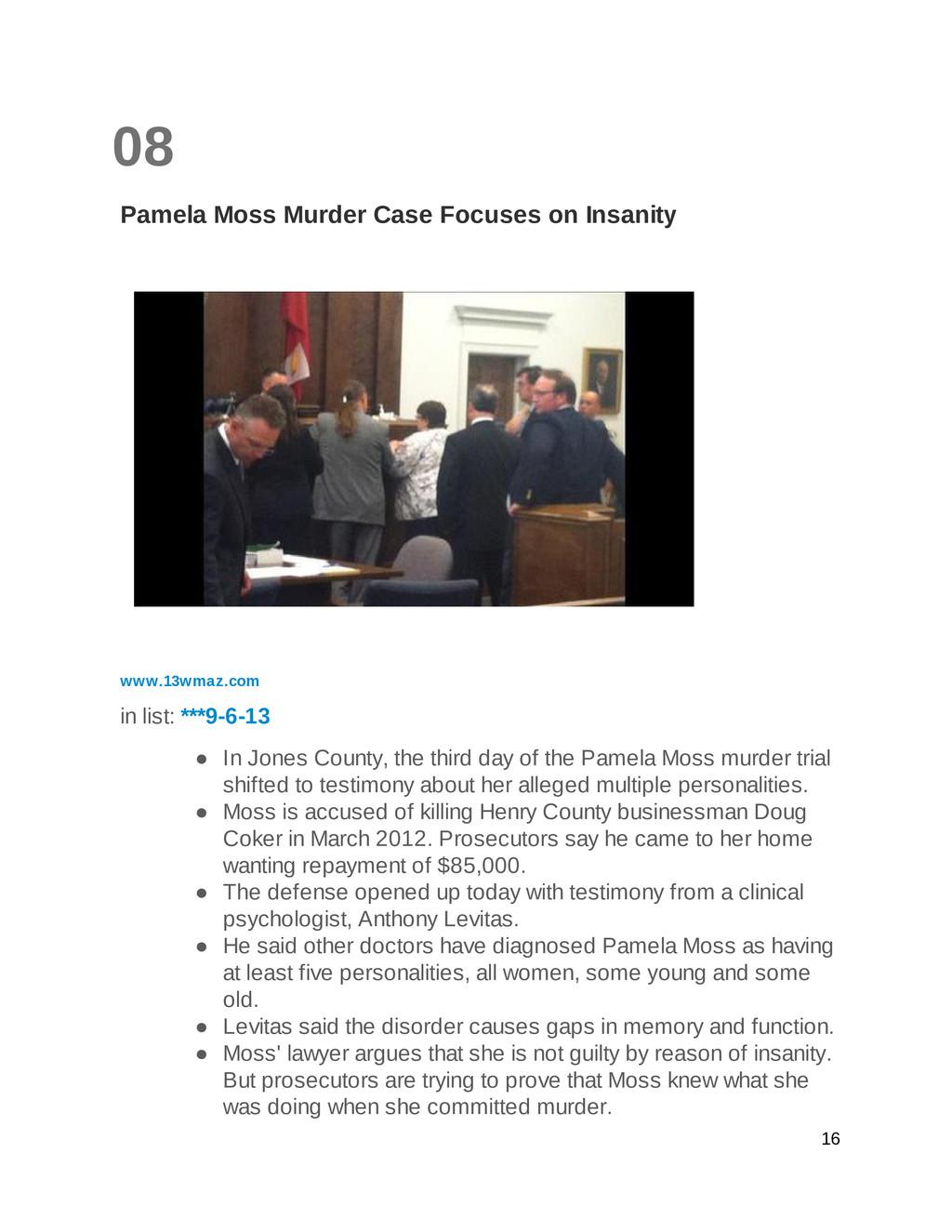 08 Pamela Moss Murder Case Focuses on Insanity ...