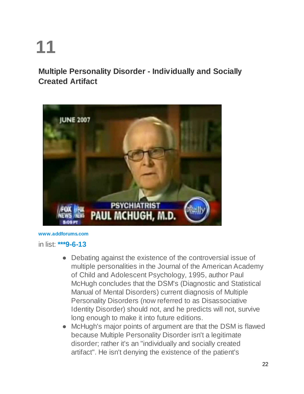 11 Multiple Personality Disorder - Individually...