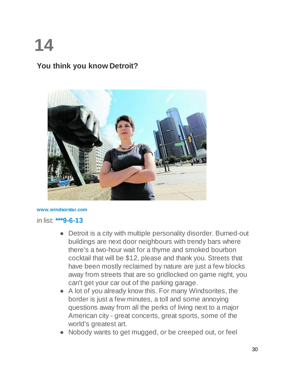 14 You think you know Detroit? www.windsorstar....