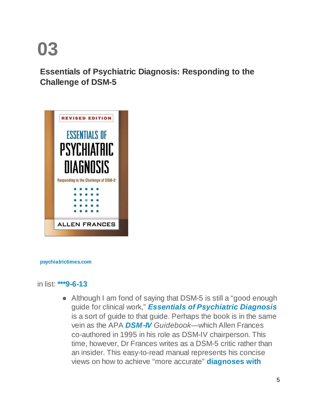 03 Essentials of Psychiatric Diagnosis: Respond...