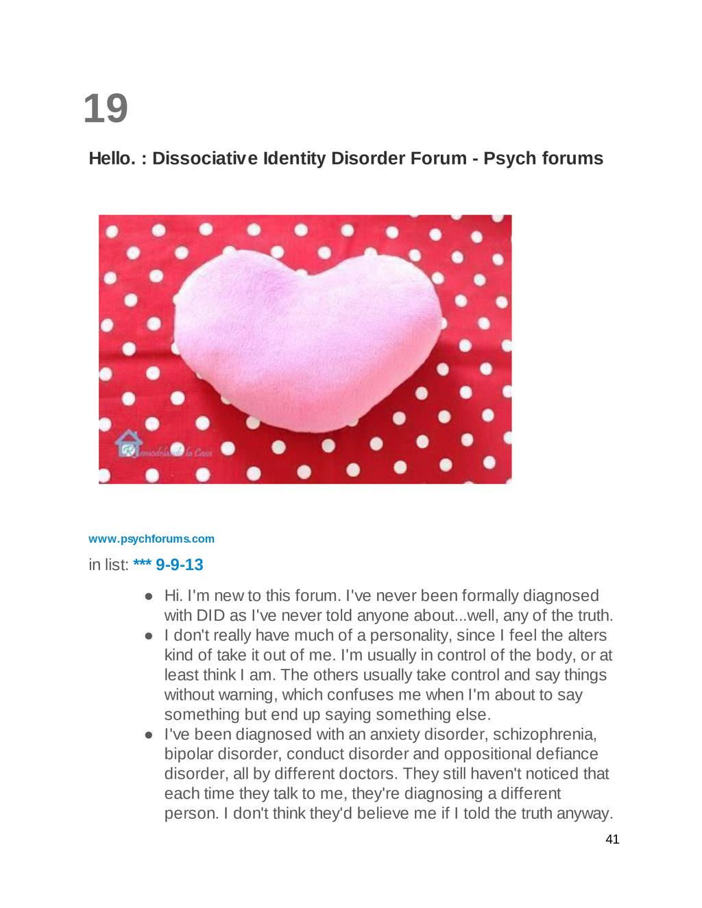 19 Hello. : Dissociative Identity Disorder Foru...