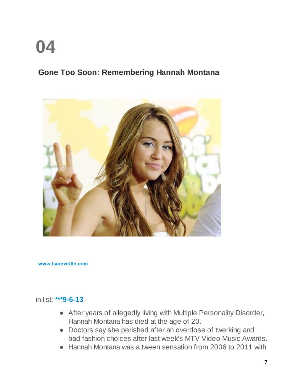 04 Gone Too Soon: Remembering Hannah Montana ww...