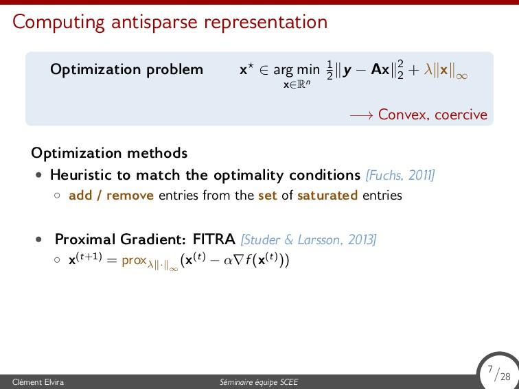Computing antisparse representation Optimizatio...