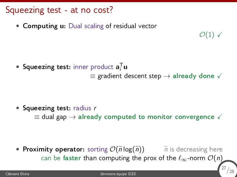 Squeezing test - at no cost? • Computing u: Dua...
