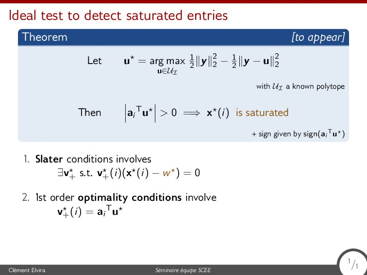 Ideal test to detect saturated entries Theorem ...