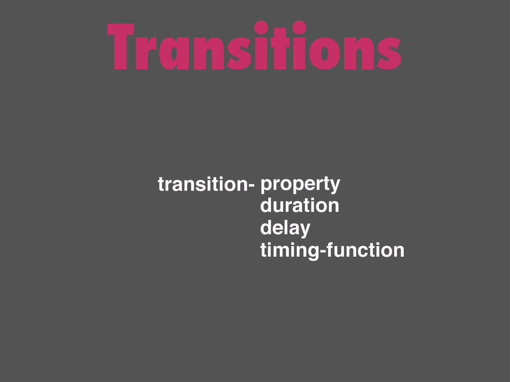 Transitions transition- property duration delay...