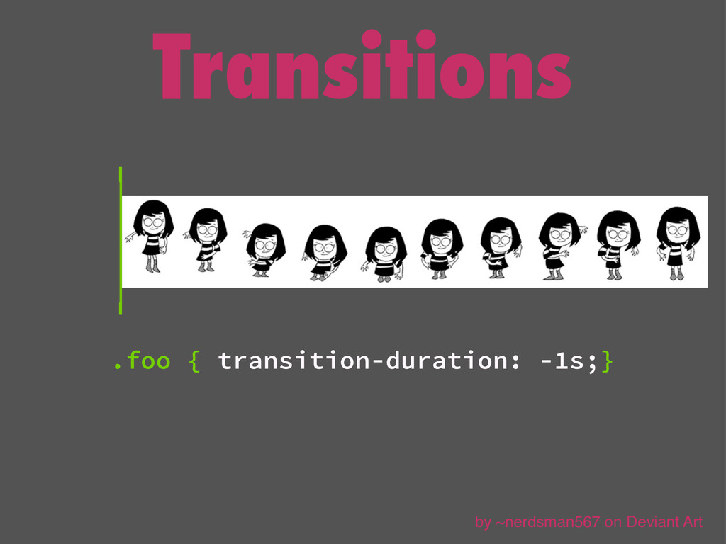Transitions .foo { transition-duration: -1s;} b...