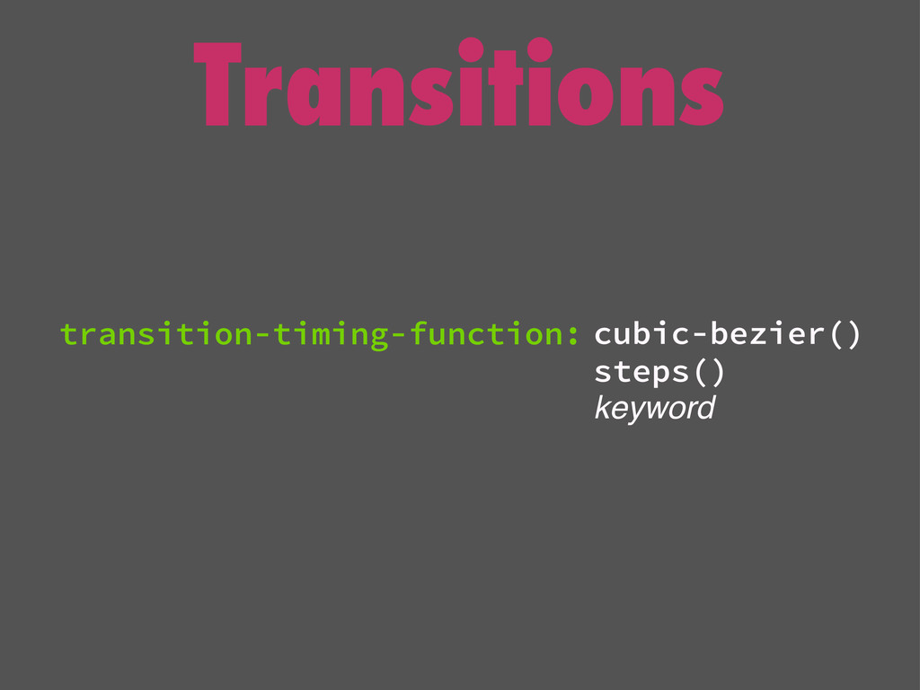 Transitions cubic-bezier() steps() keyword tran...