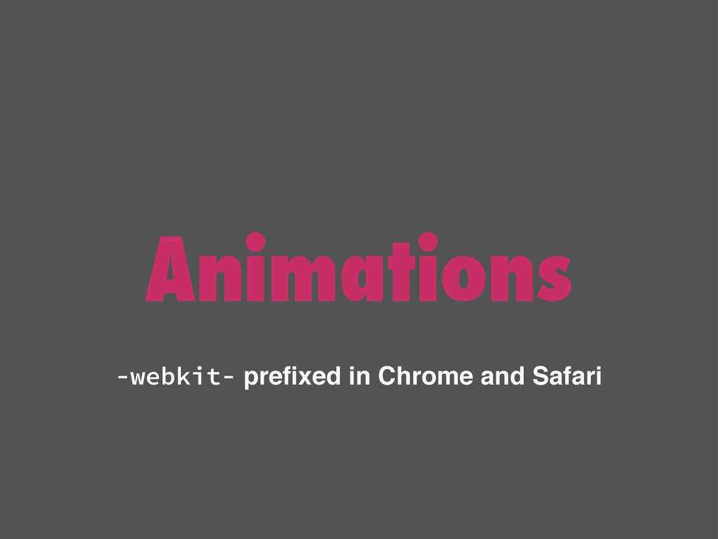 -webkit- prefixed in Chrome and Safari Animations