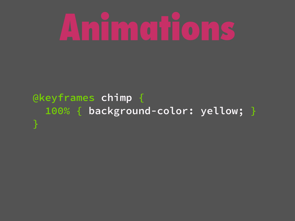 Animations @keyframes chimp { 100% { background...