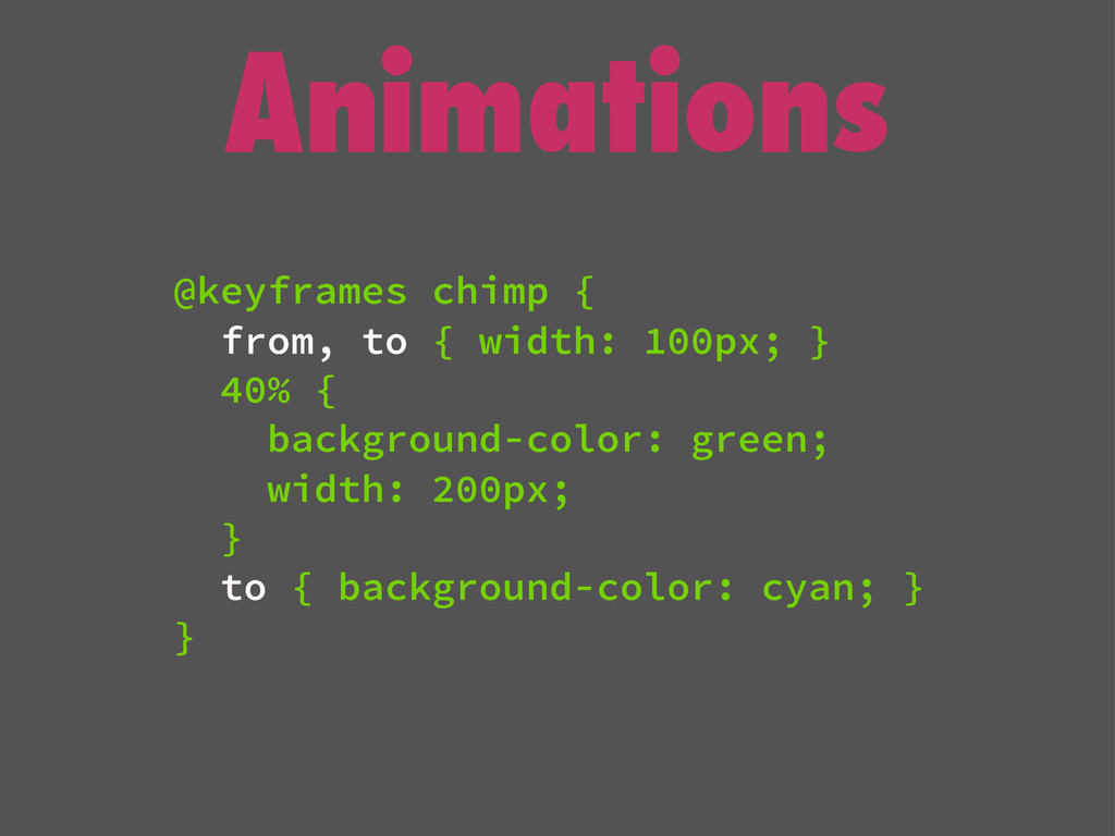 Animations @keyframes chimp { from, to { width:...