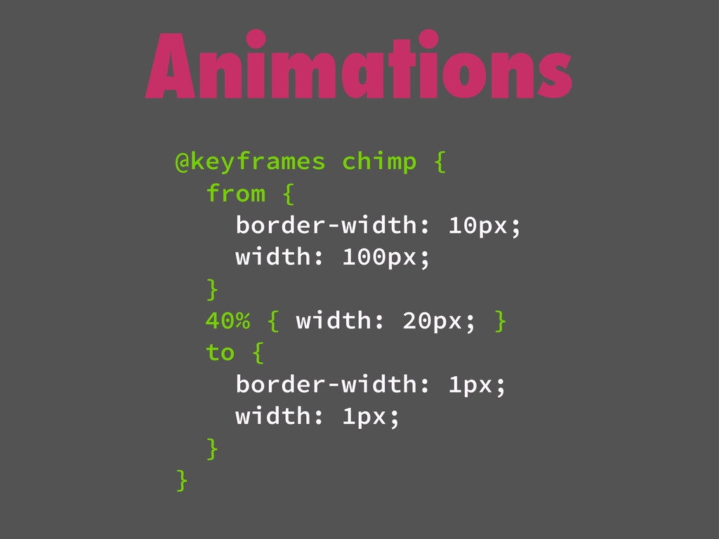 Animations @keyframes chimp { from { border-wid...