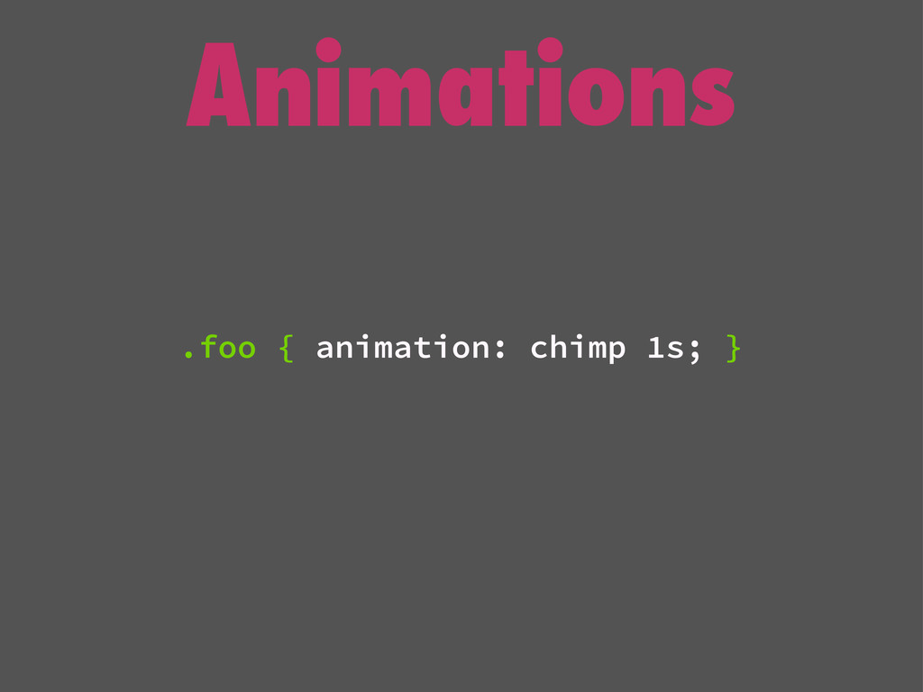 Animations .foo { animation: chimp 1s; }