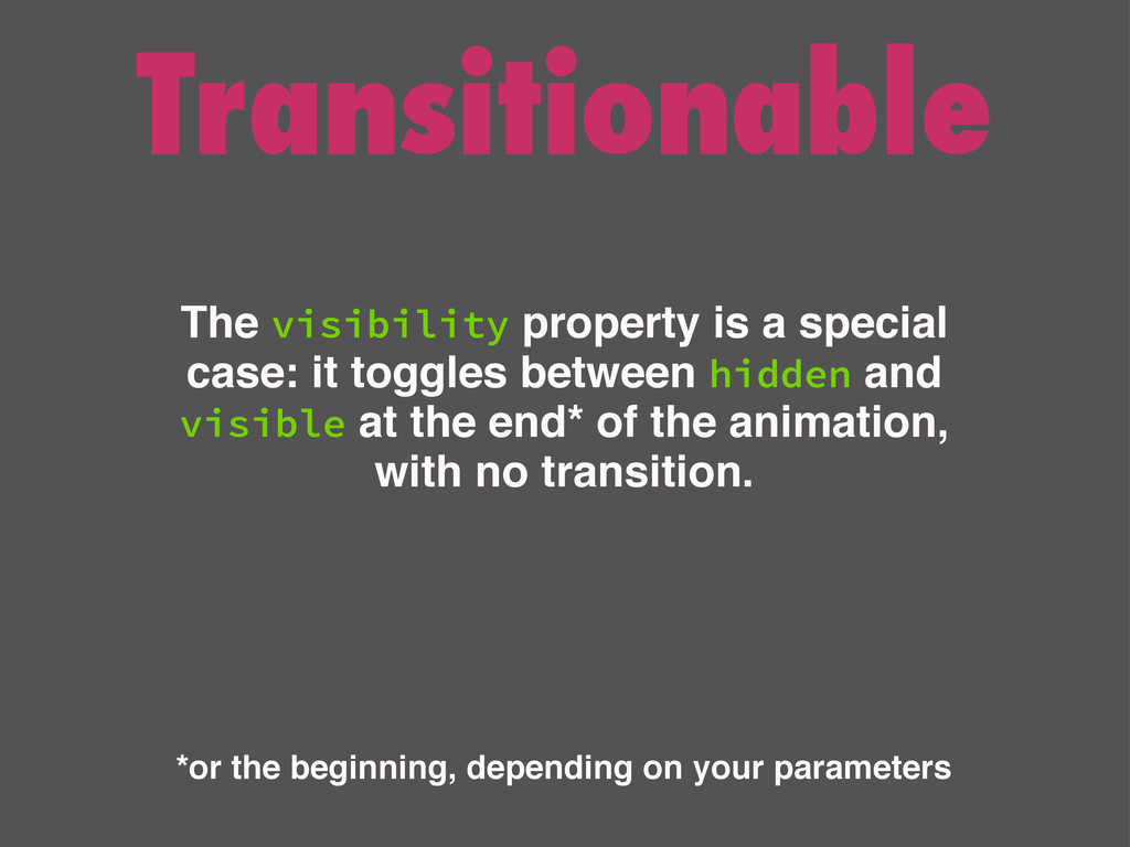 Transitionable The visibility property is a spe...